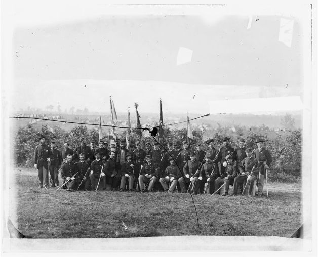 Lieutenant-Colonel James J. Smith and officers of the 69th New York, an image exposed just a few weeks after the Battle of Skinner's Farm (Library of Congress)