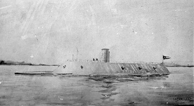 The CSS Virginia, formerly the Merrimack, which fired the salvo that killed James Leahy (U.S. Naval Historical Center)