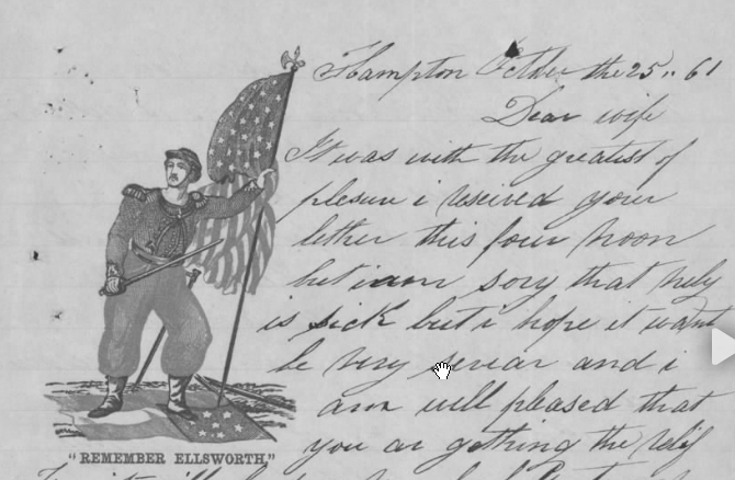 The start of James Leahy's letter, with patriotic image (Fold3/National Archives)