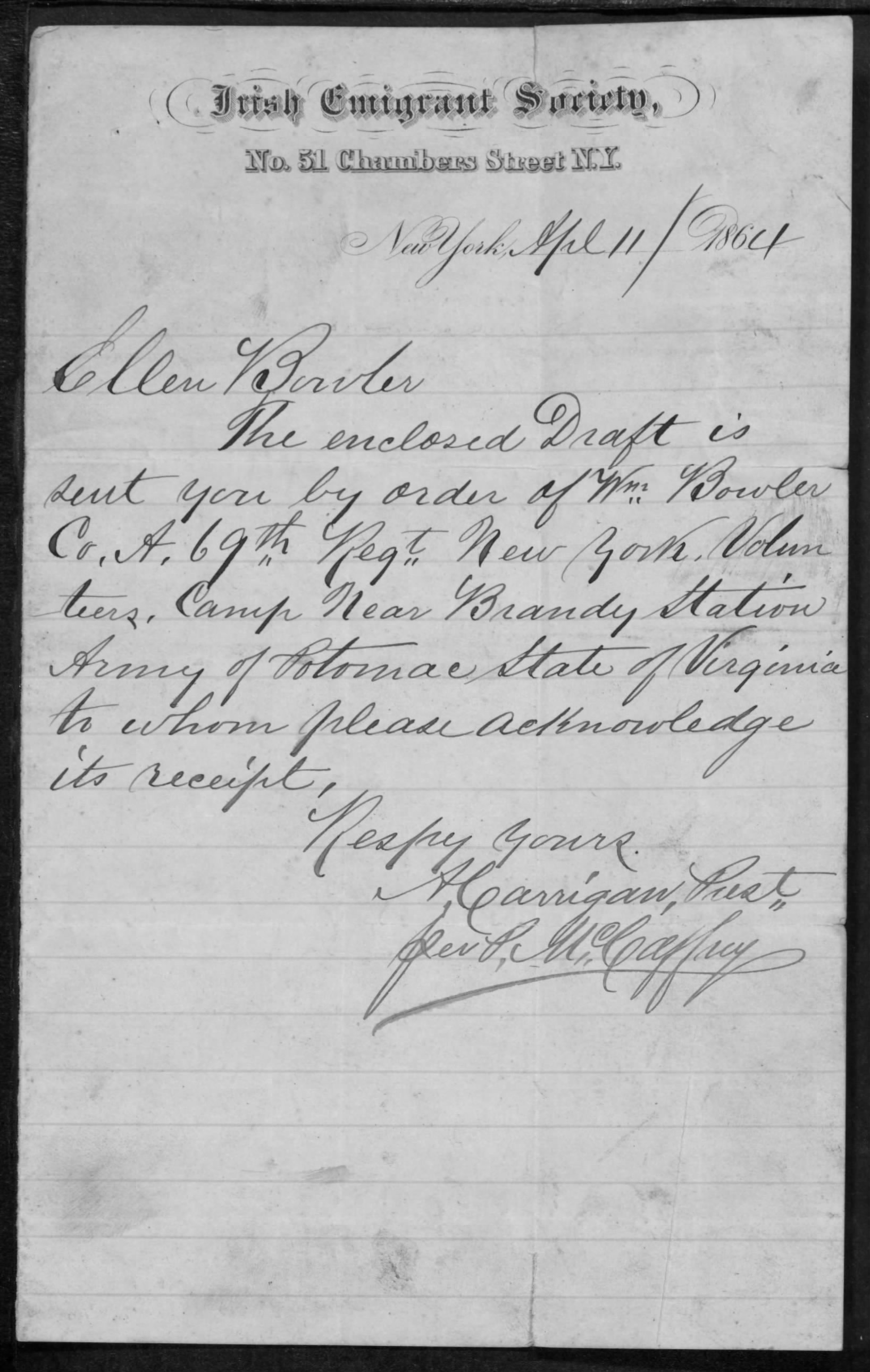 Irish Emigrant Society notice sent to Ellen Bowler in Youghal regarding her husband's payment (National Archives/Fold3)