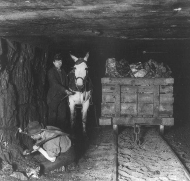 Mining coal three miles underground in Pennsylvania, c. 1895 (Library of Congress)