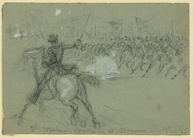 Members of the Michigan Cavalry Brigade Charging in 1864 (Library of Congress)