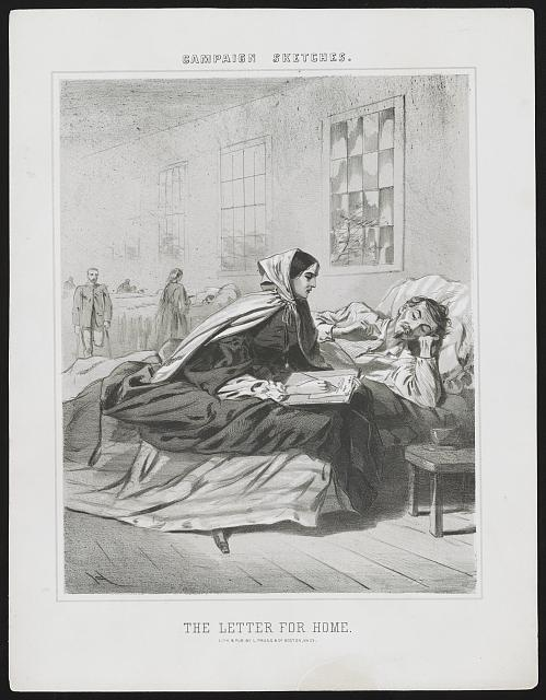 A nurse writes a letter home for a hospitalised soldier in 1863 (Library of Congress)