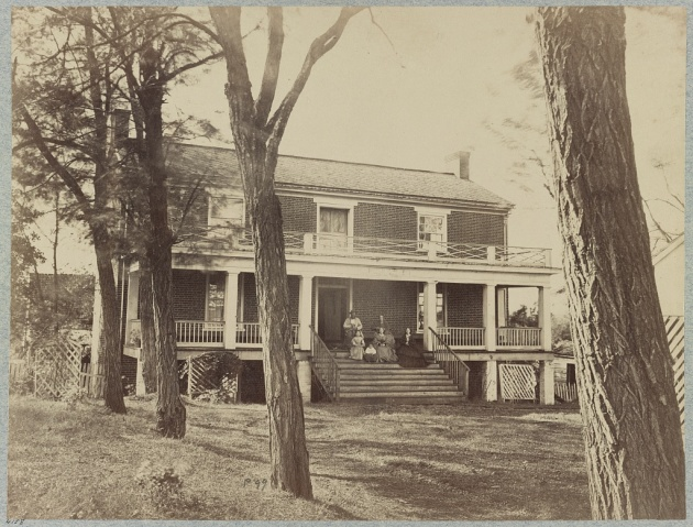 The MacLean House, Appomattox Court House, where Robert E. Lee surrendered to Ulysses S. Grant. The image was exposed by Irishman Timothy O'Sullivan (Library of Congress)
