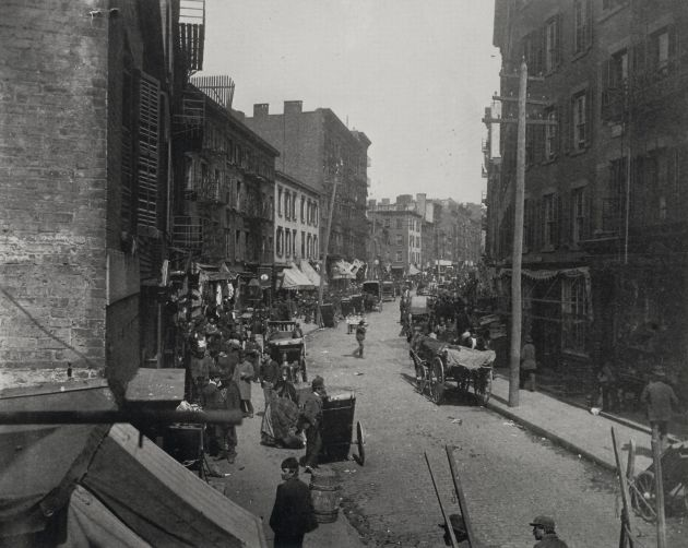 Mulberry Bend, Five Points, New York in 1896. Mary Madigan lived close to here in 1863 (Jacob Riis)
