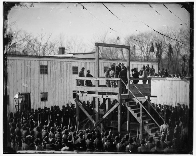 Adjusting the rope for the execution of Wirz (Library of Congress)