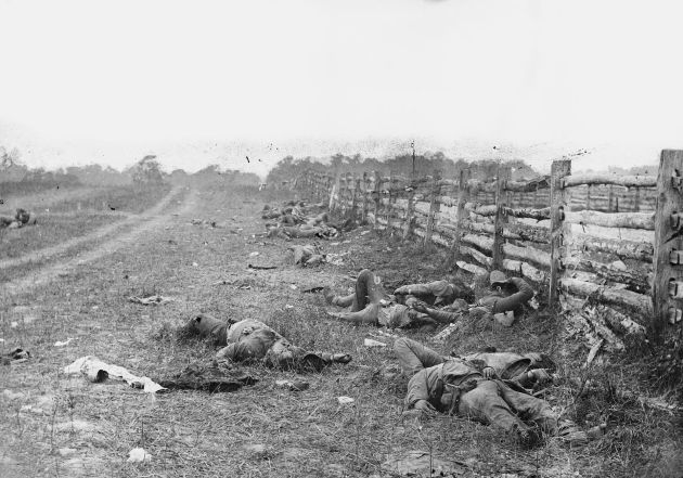 """Photograph taken by Alexander Gardner of the field at Antietam, American Civil War. Confederate dead by a fence at the Hagerstown Turnpike, looking north."" (1 Sep 1862) Source: Library of Congress. Public Domain. Note: Coincidentally, fighting with the Union forces that same day was George Washington Whitman, Walt Whitman's brother."