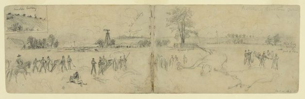 Sketch of the Battle of Bristoe Station by Alfred Waud. Edward Wellington Boate was captured at the engagement (Library of Congress)