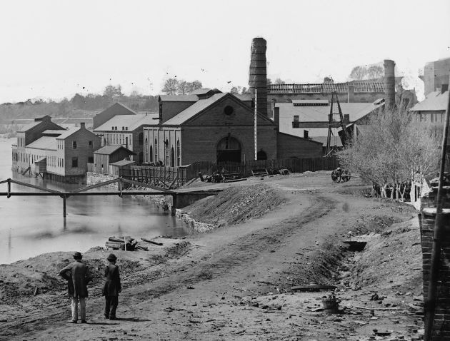 """""""Photograph of the Tredegar Iron Works in Richmond, Virginia after its fall"""" (April 1865) Source: Library of Congress. Public Domain"""