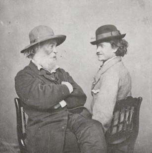 """Walt Whitman and Peter Doyle"" (c. 1869) Source: Ohio Wesleyan University, Bayley Collection. Public Domain."