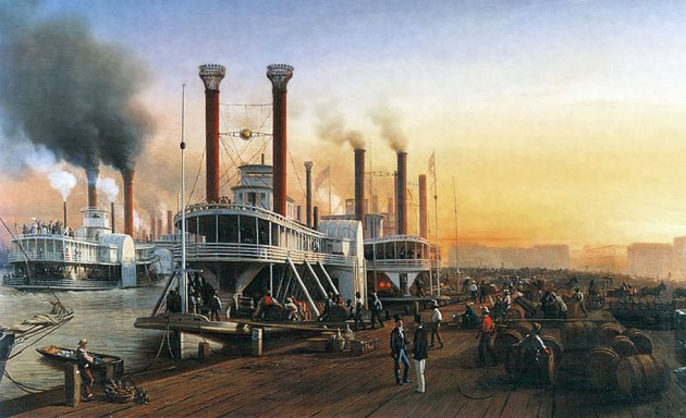 Steamboats on the Mississippi River in New Orleans during the 1850s, a scene that would have been familiar to Maurice O'Donnell (Hippolyte Sebron))