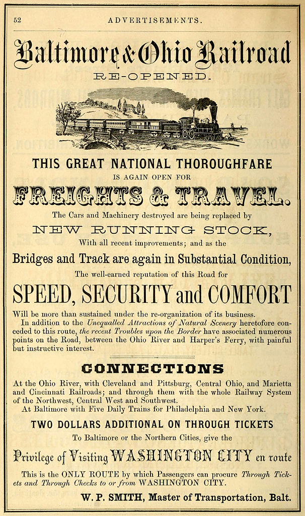 1864 Advertisement for the Baltimore & Ohio (Wikipedia)