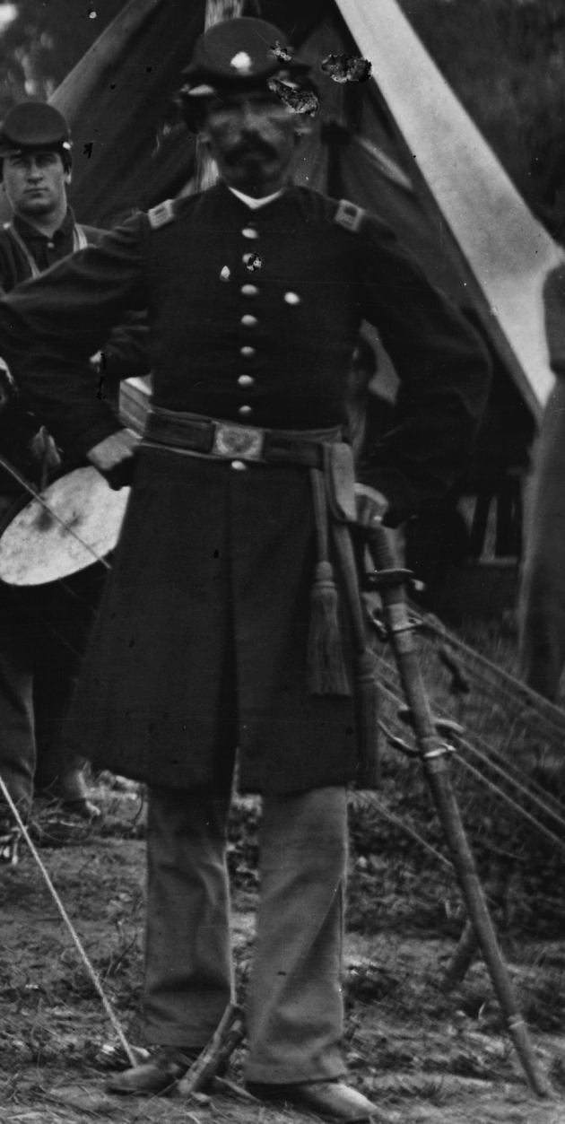Captain Charles McAnally, detail from an image of the 69th Pennsylvania, 1865 (Library of Congress)