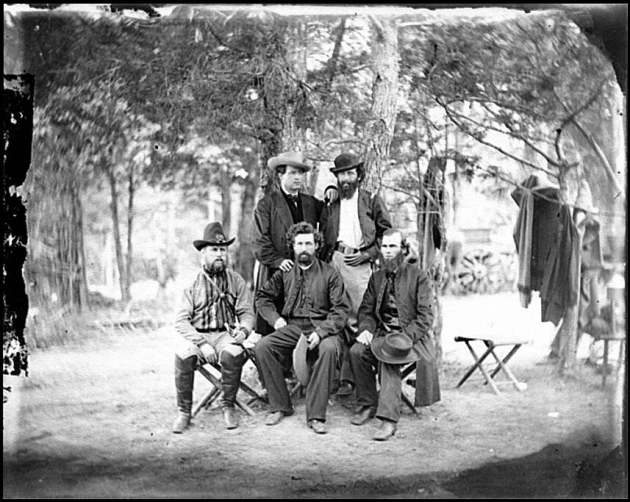 Members of the Irish Brigade at Harrison's Landing in 1862. The figure seated in the centre is Father James Dillon, who John Doherty discusses in his contemporary letters (Library of Congress)
