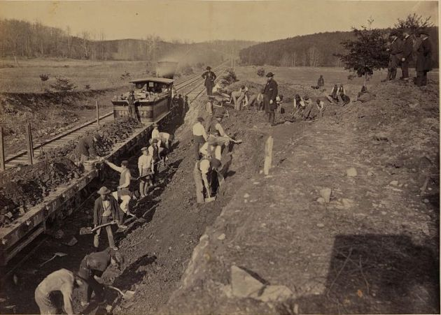 Herman Haupt overseeing work on the Orange & Alexandria Railroad, 1863 (Library of Congress)