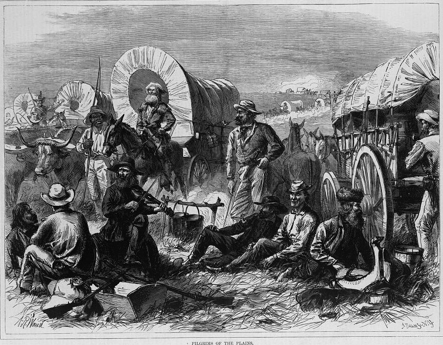 Pilgrims of the Plains as imagined by Harper's Weekly in the early 1870s (Library of Congress)