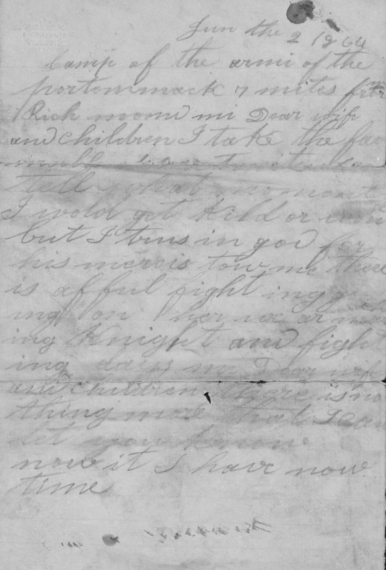 The last words written by Hubert McNamara, hours before his death at the Battle of Cold Harbor (National Archives/Fold3)