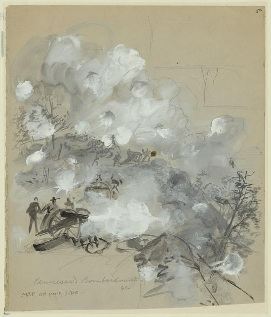 An Artillery Bombardment during the Battle of Kennesaw Mountain by Alfred Waud (Library of Congress)