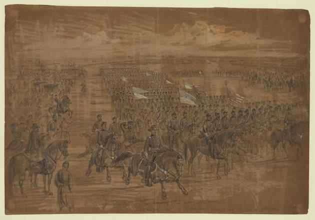 The President reviewing the cavalry of the Army of the Potomac in 1863 (Library of Congress)