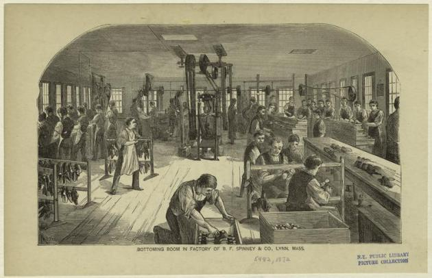 The Bottoming Room in the Spinney & Co. Factory, Lynn. The leather making industry employed large numbers of Irish people in Massachusetts, including John Hannon (New York Public Library)