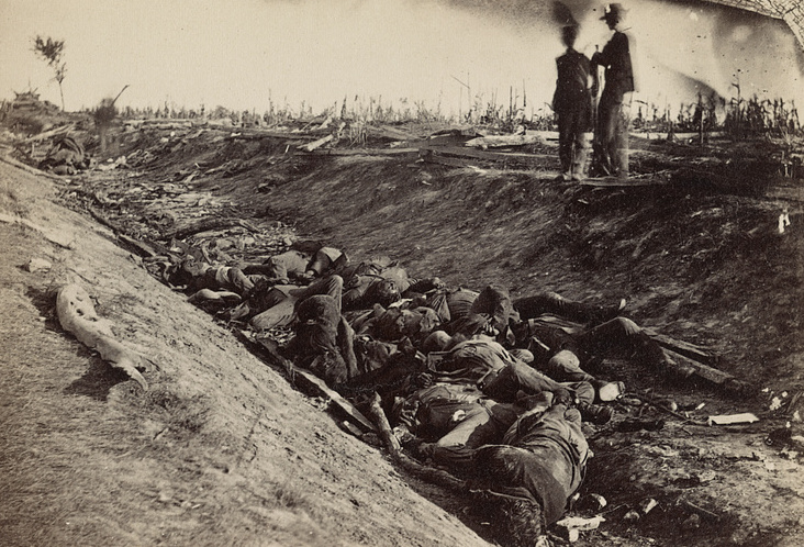 Confederate dead in the Bloody Lane at Antietam (the position the Irish Brigade attacked). Exposed by Alexander Gardner, it was images such as this exhibited by Mathew Brady that caused such a sensation in 1862 New York (Library of Congress)