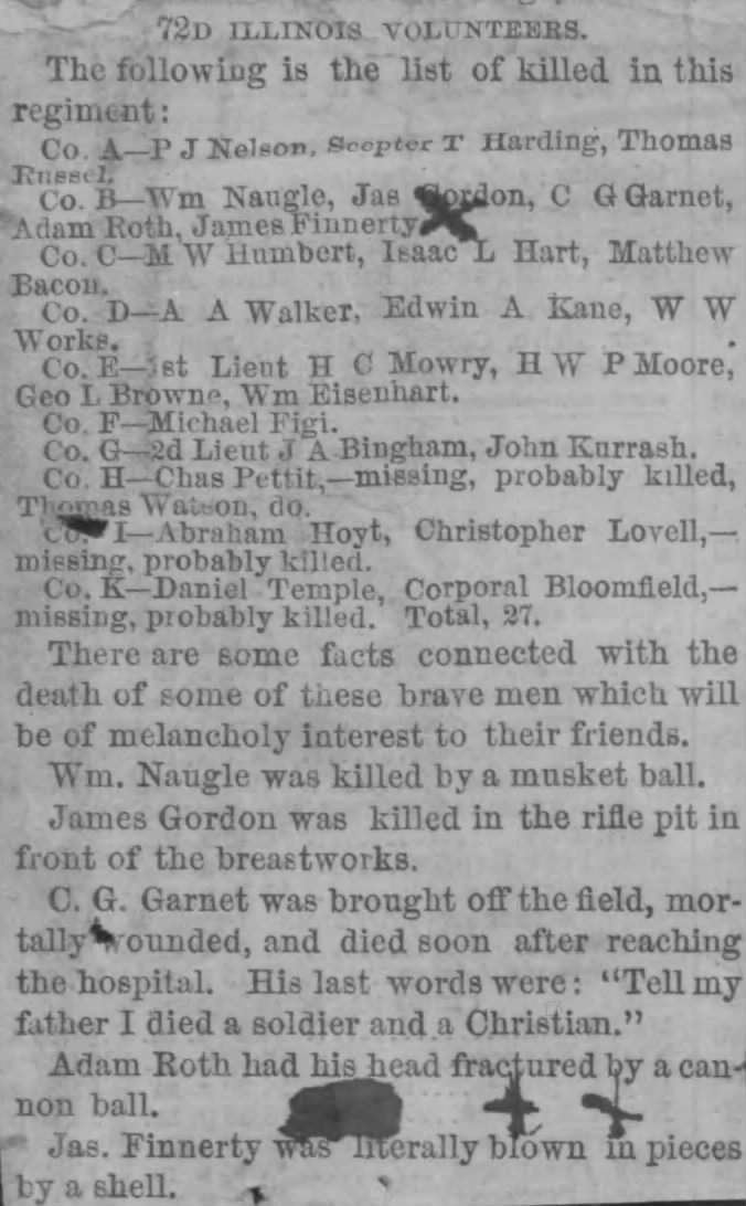 The newspaper clipping which Bridget Finnerty included in her pension application. The line which describes the horrible fate which befell her son was marked to prove he had died in battle (Fold3/National Archives)