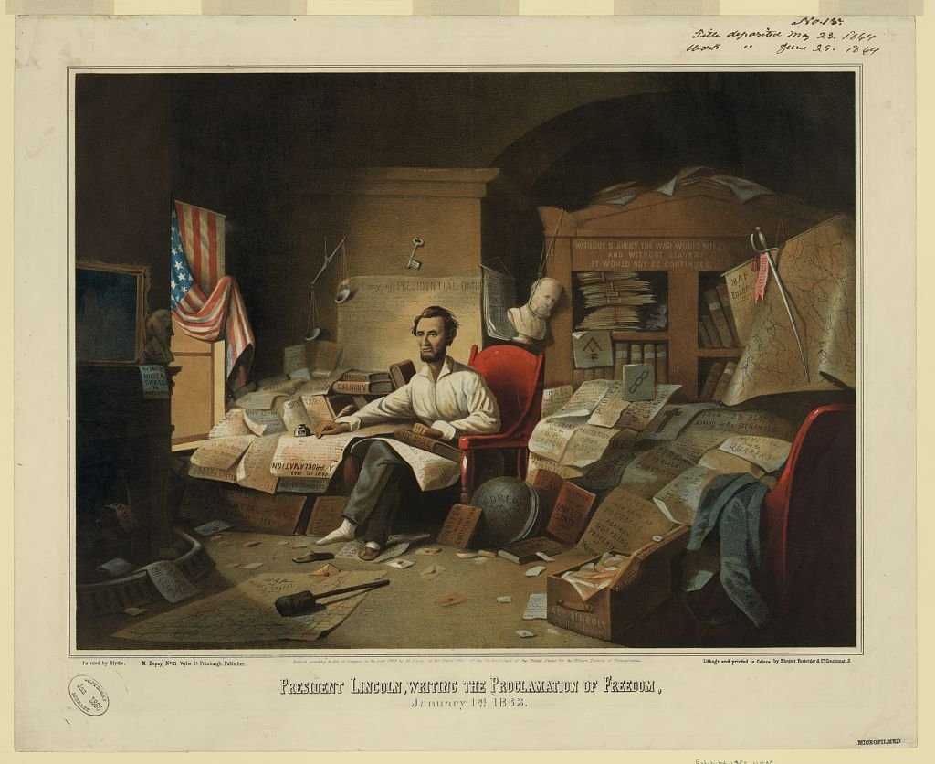 President Lincoln writing the Emancipation Proclamation as imagined by David Gilmour Blythe in 1863 (Library of Congress)