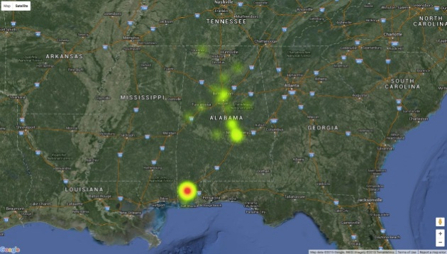 Heat map showing concentrations of Irish Confederate veterans living in Alabama in 1907. The vast majority were centred around Mobile. Click on the image to examin in further detail.