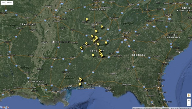 The locations where Irish Confederate veterans were living in Alabama at the time of the 1907 Census. Click on the link to explore the map in more detail and view service details of some of the men.
