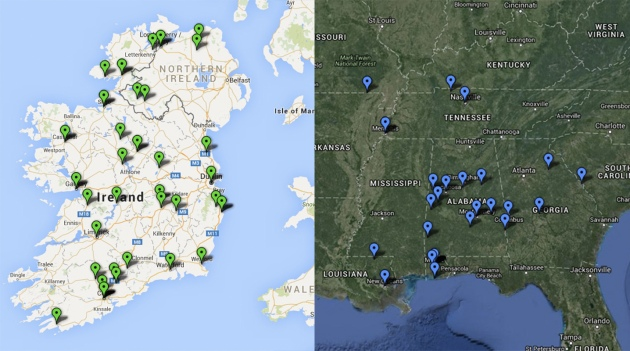 Some of the maps produced based on the Alabama Confederate veteran information; birthplaces in Ireland and enlistment locations during the Civil War