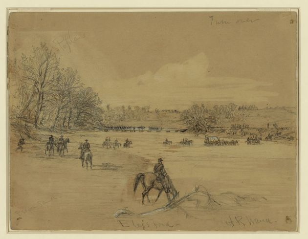 Ely's Ford on the Rapidan as it appeared on 4th May 1864, the day Joseph Keegan from Bray crossed it. Drawn by Alfred Waud (Library of Congress)