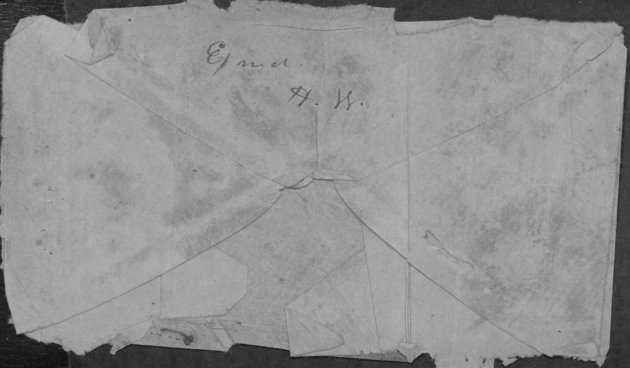 The back of the envelope that contained Joseph Keegan's letter. On examining the scans Chris Barr noted that it reads 'Exm'd H.W.' denoting that it had been examined by the Confederates– as Chris noted, the H.W. likely represents none other than Camp Commandant Henry Wirz , suggesting he personally read and approved Joseph's letter. Wirz was later executed for his role at Andersonville (Fold3)