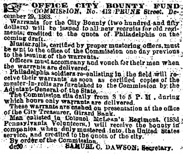 Advertisement in the Illustrated New Age of 14th January 1864, carrying details of the bounty for men of the 183rd Pennsylvania (GenealogyBank)