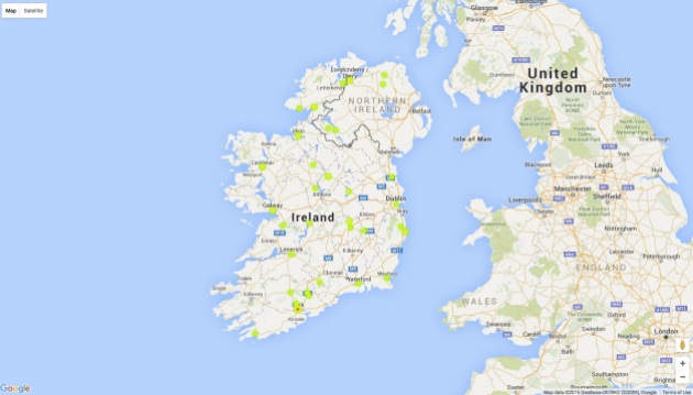 Heat map of the birthplaces of Irish Confederate veterans recorded in the 1907 census. Cork had the highest number of veterans.