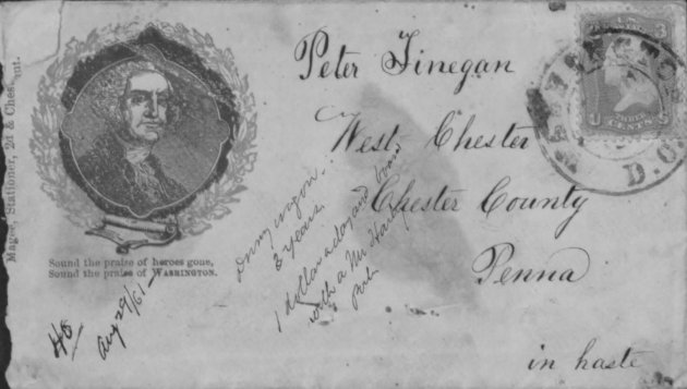 The envelope which contained Peter Finegan's letter to his parents, which is analysed below (Fold3.com/NARA)