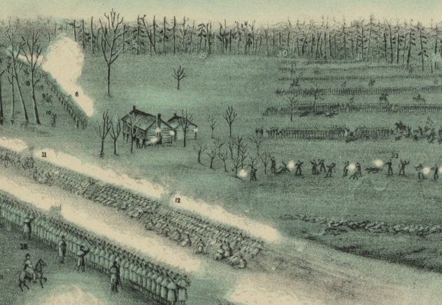 A detail of the Middleton, Strobridge & Co lithograph from c. 1900, showing the position where the Regular Brigade faced the Confederate onslaught near the Cedar break (Library of Congress)