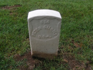 The grave of Peter Gilooly in Nashville National Cemetery (Kathleen Fleury Bilbrey, Find A Grave)