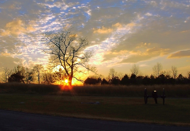 Sunset on the Stones River battlefield during my visit in November 2014 (Damian Shiels)