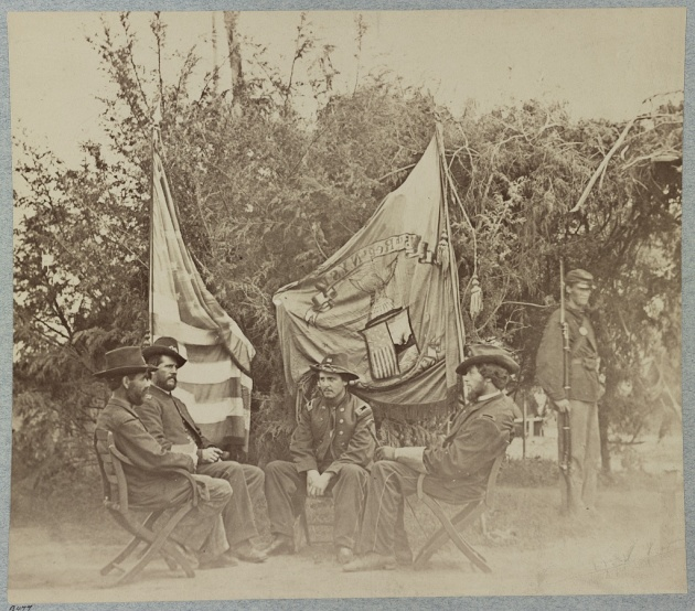 Officers of the 15th New York Engineers during the Civil War. Prominent Fenian Ricard O'Sullivan Burke served in this regiment (Library of Congress)