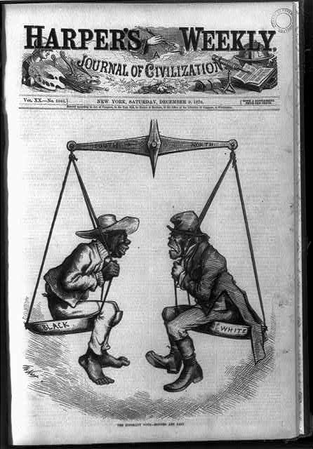 'The Ignorant Vote' Honors Are Easy. Harper's Weekly cartoon from 1876. One of the reasons often put forward for the virulence of some Irish racism was the effort of the Irish to differentiate themselves in the social-spectrum from African-Americans. (Library of Congress)