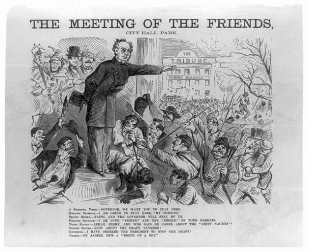 The Meeting of Friends. Caricature depicting Governor Horatio Seymour and Irish Draft Rioters in New York in 1863, with an African-American being lynched in the background (Library of Congress)