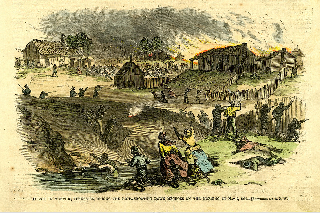 African-Americans being attacked during the Memphis Race Riots of 1866, an incident in which the majority of the rioters were Irish (Library of Congress)