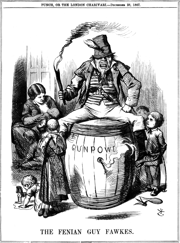 """""""The Fenian Guy Fawkes"""" a caricature carried in Punch Magazine, December 1867, and reflective of the anxiety being caused by Fenian operations (Punch)"""