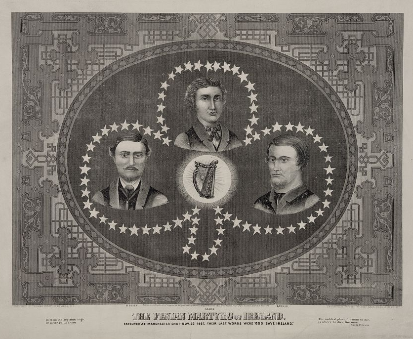 Portraits remembering the Manchester Martyrs. American Civil War veteran Michael O'Brien is at left (Library of Congress)