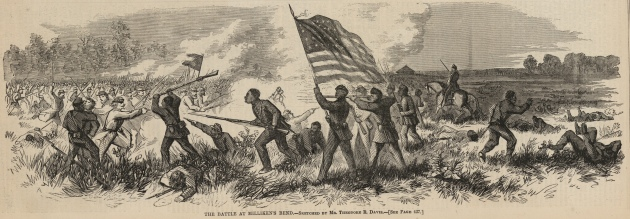 African-American troops in action at Milliken's Bend, 1863 (Theodore Davis)