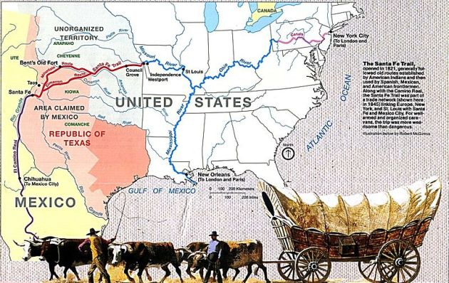The Santa Fe Trail. Timothy and the men at Fort Zarah were responsible for defending a portion of it (National Park Service via Wikipedia)