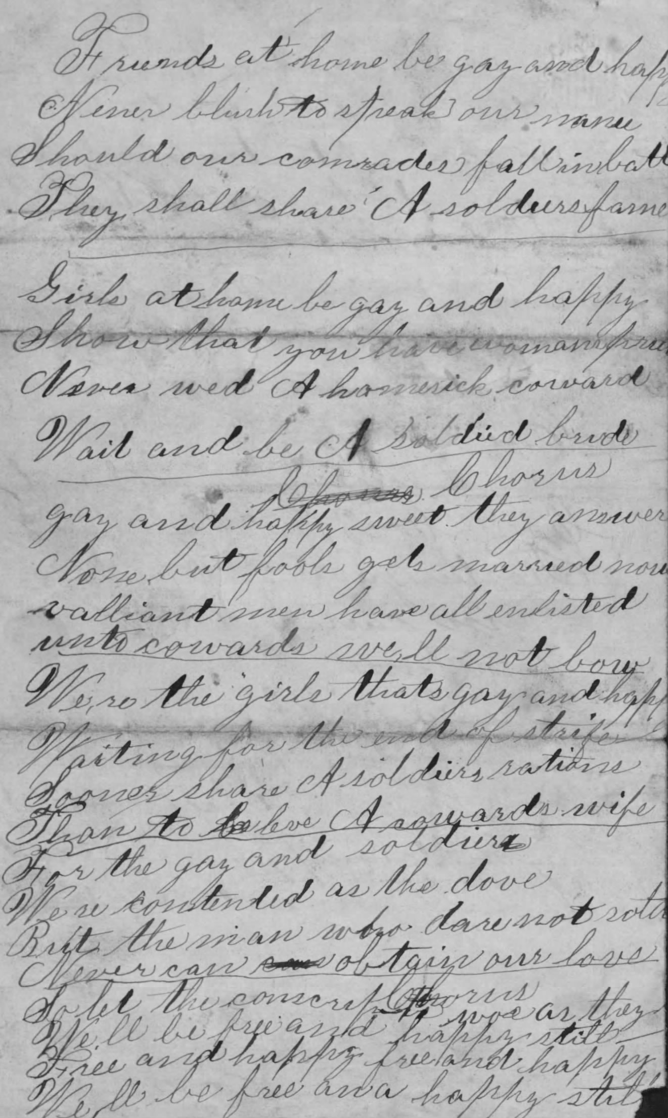 The original letter by Timothy to his mother from Fort Zarah, with the verses of the song seperated by lines (Fold3/Library of Congress)