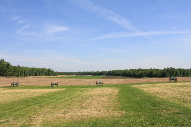 The Malvern Hill Battlefield. David Mulcahy and the 9th Massachusetts fought in the vicinity of these guns, with the Confederate attack moving towards the camera (Damian Shiels)