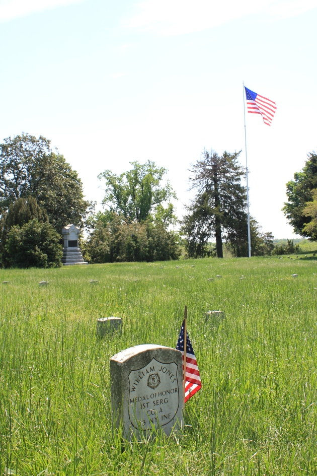 The grave of First Sergeant William Jones, Fredericksburg National Cemetery. A native of Wicklow. (Damian Shiels)