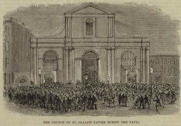 """St. Francis Xavier Church in Manhattan, as it appeared when the Clarks had their children baptised there. Although the Church still exists today, it has been redeveloped. This image illustrates a fatal panic that occurred at the Church in 1877, when somone caused a stamped by shouting """"Fire!"""", resulting in a number of deaths. (New York Public Library)"""